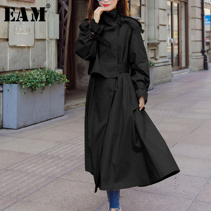 [EAM] 2019 Spring Winter Woman Stylish Solid Color Long Sleeve Turn-down Collar Long Pleated Patch Sashes Long   Trench   Coat LE618