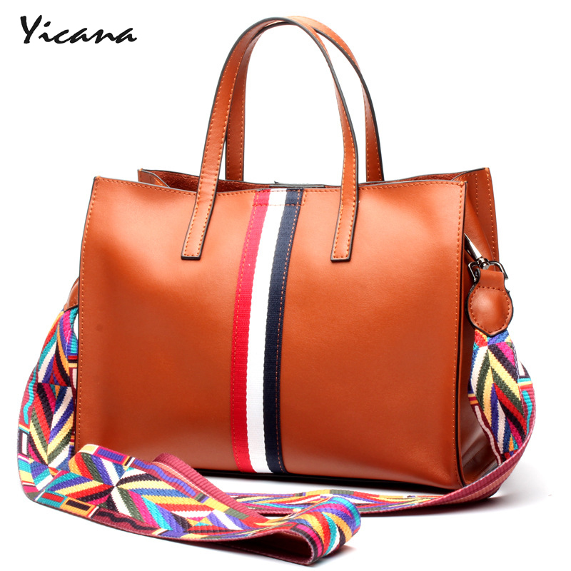 Yicana fashion 4 colors Cow leather womens handbag concise style soft bag shoulder portable messenger bag leather tote bagYicana fashion 4 colors Cow leather womens handbag concise style soft bag shoulder portable messenger bag leather tote bag