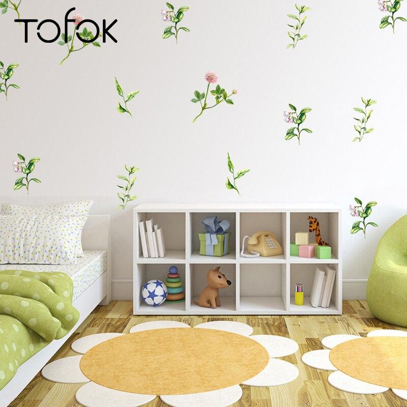 Tofok adesivo de parede de plantas verdes, 24 pçs/set, diy, estilo fresco, flores para sala de estar, quarto, decalque de mural, decoração de geladeira e janela