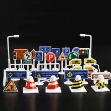 28 шт. набор английских дорожных знаков знак дорожного Движения Вывеска DIY Модель сцена автомобиль игрушка аксессуары дети играть обучающие игрушки