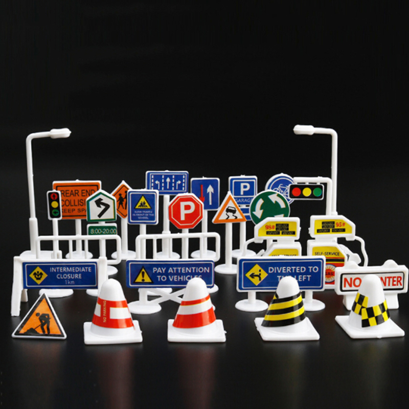 28pcs Set English Road Sign Traffic Sign Signage DIY Model Scene Car Toy Accessories Kids Children Play Learn Toys image