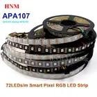 5 В 5 м 72 светодиодный s/M APA107 цифровая светодиодная лента 5050 SMD умная Пиксельная адресация лента Ambilight ТВ свет, белый/черный PCB, IP20/IP65/IP67