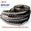 5V 5M 72LED s/m APA107 bande LED numérique 5050 SMD bande de Pixel adressable intelligente Ambilight TV lumière, blanc/noir PCB, IP20/IP65/IP67