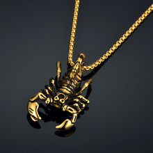Zodiac Scorpion Neck Necklace Pendant dropshipping Punk Men's Gold Stainless Steel Male Statement Necklaces Jewelry , Collier