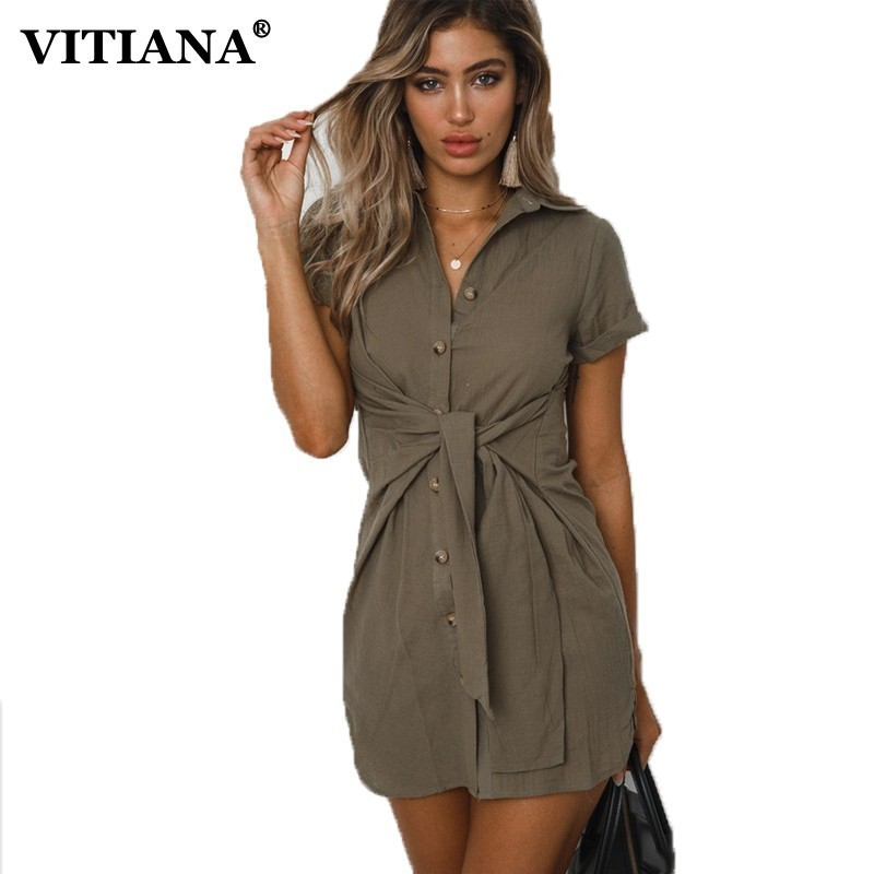 VITIANA Women Casual Long Blouse Summer 2019 Female Short Sleeve Sashes Black Office Shirts Ladies Elegant High Street Tops