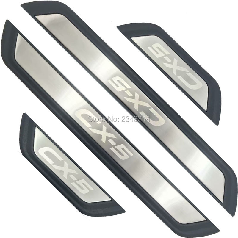 For 2017 <font><b>2018</b></font> 2019 2020 <font><b>Mazda</b></font> CX-5 <font><b>CX5</b></font> KF 2nd Stainless Door Sill Scuff Plate Protector Trim Guard Pedal Car Styling Accessories image