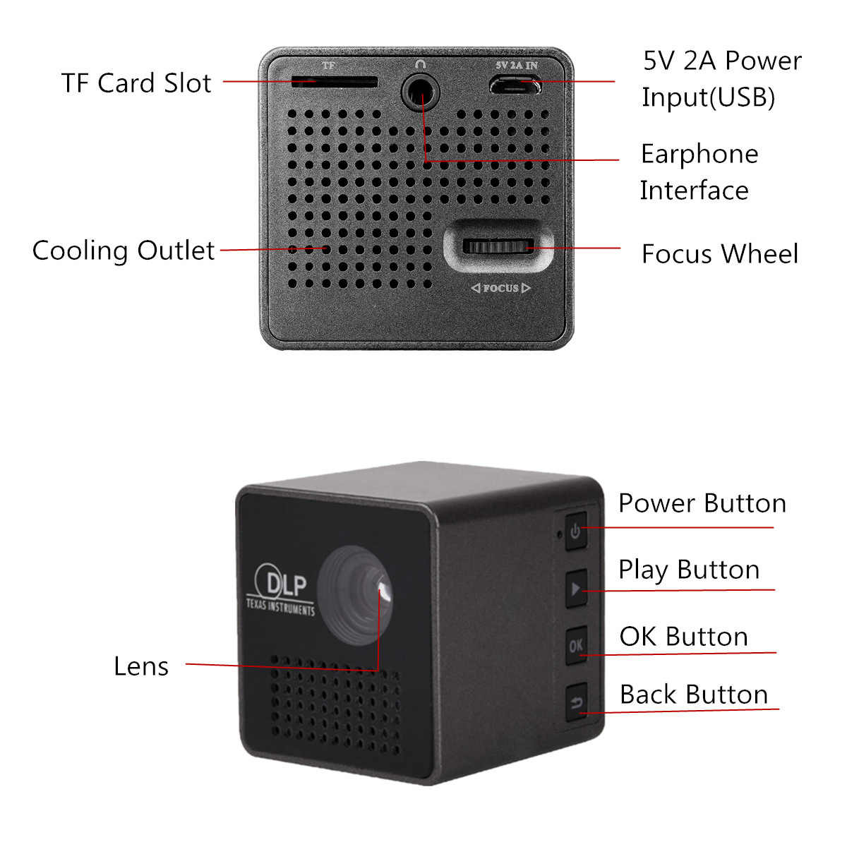 Mini projektor 1080P bezprzewodowy Wifi telefon komórkowy projektor obsługuje Miracast Dlna kieszenie projektor kina domowego 5.1 DLP projektor baterii