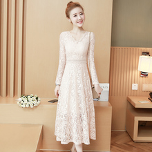 2018 New Women Long dress Add Wool Full Sleeve Slim Lace Render Small Sweet Wind Dresses White Black Apricot 89601