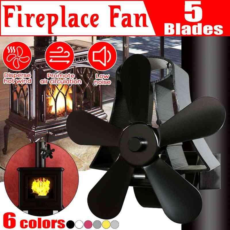 Настенный Вентилятор для печи 5 лопастей, вентилятор для камина с питанием от плиты, вентилятор комин, деревянная горелка, экологичный тихий вентилятор, тепловое распределение
