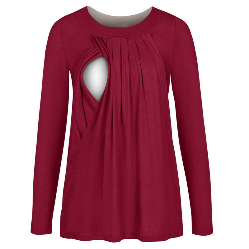 Maternity Dress Cotton Round Neck Can Be Unveiled Milk Solid Color Women Clothing Coat Long Sleeve Cute Care Shirt Nursing Top