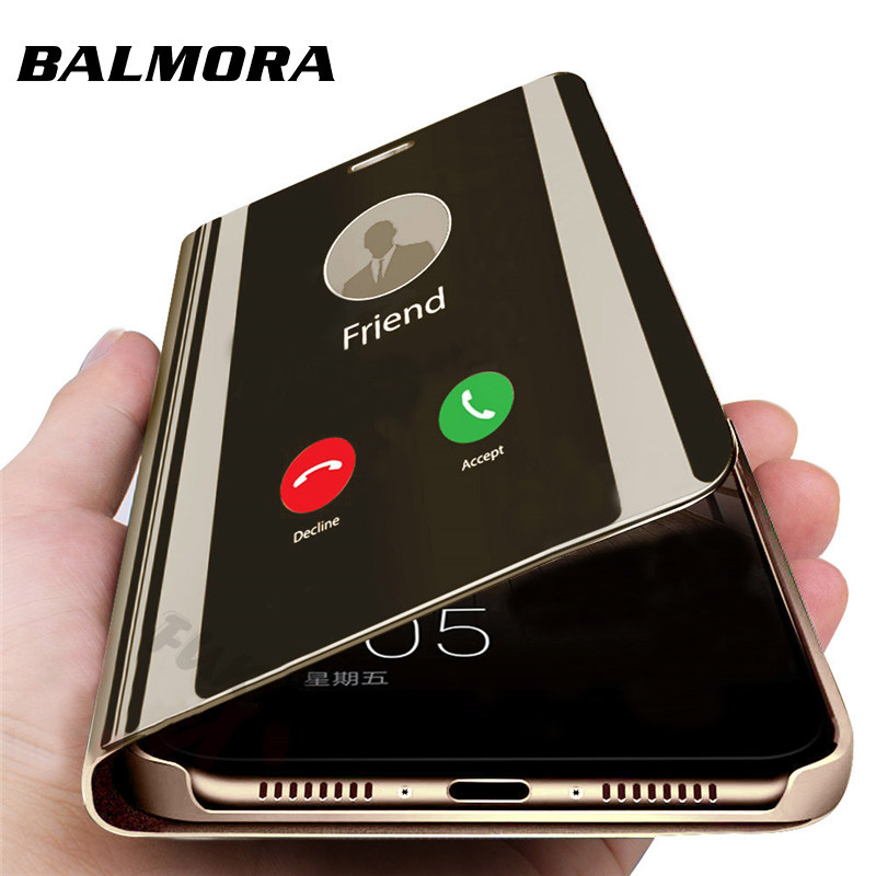 Balmora Capa Clear Mirror Flip Phone Cover For Huawei P10 P20 P30 Lite Phone Case For Huawei P20 P30pro P9 P10Plus Case in Fitted Cases from Cellphones Telecommunications