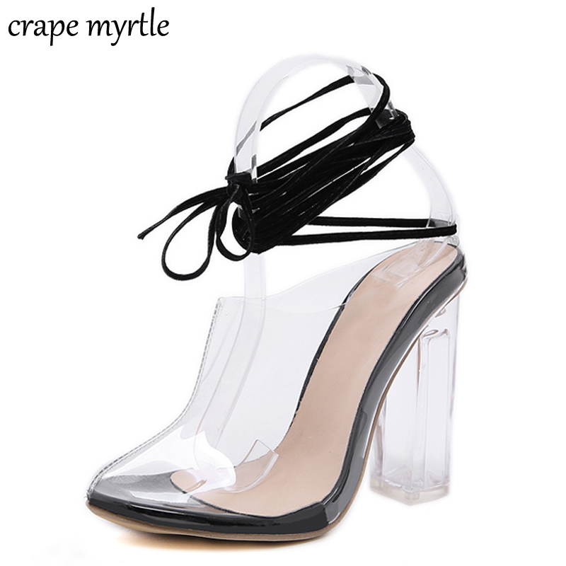 Women's Summer Sandals Block Middle Heels Hollow Lace Up Peep Toe Party Shoes