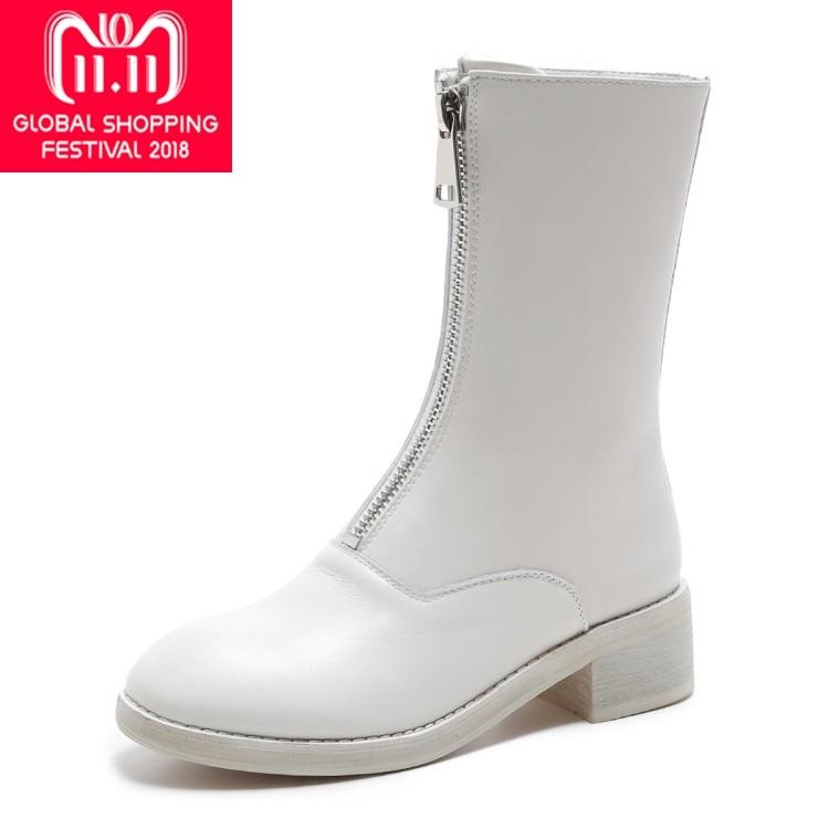 купить {Zorssar}2018 NEW fashion women boots Genuine leather zipper Round Toe Mid heels womens Mid-Calf boots Autumn winter women shoes по цене 4489.63 рублей