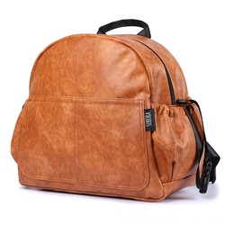 Stylish Large Capacity Brown Baby Bag Backpack for Mother Stroller Bag with Straps Vintage Maternity Nappy Changing Bag for Mum
