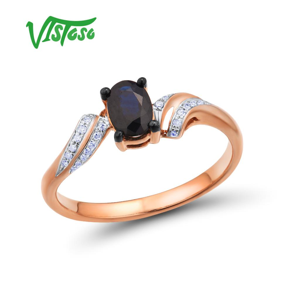 VISTOSO Gold Rings For Women Genuine 14K 585 Rose Gold Ring Sparkling Diamond Oval Blue Sapphire Simple Trendy Fine Jewelry-in Rings from Jewelry & Accessories    1