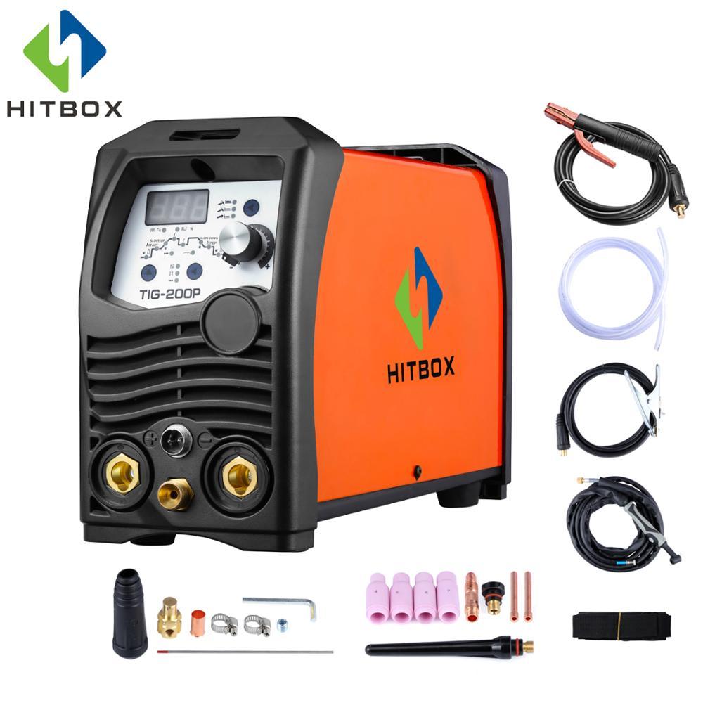 HITBOX Tig сварочный аппарат Arc Tig Pulse TIG функциональный 3 в 1 TIG200P аргон Tig сварочный аппарат 220 В отличная работа инвертор сварщик