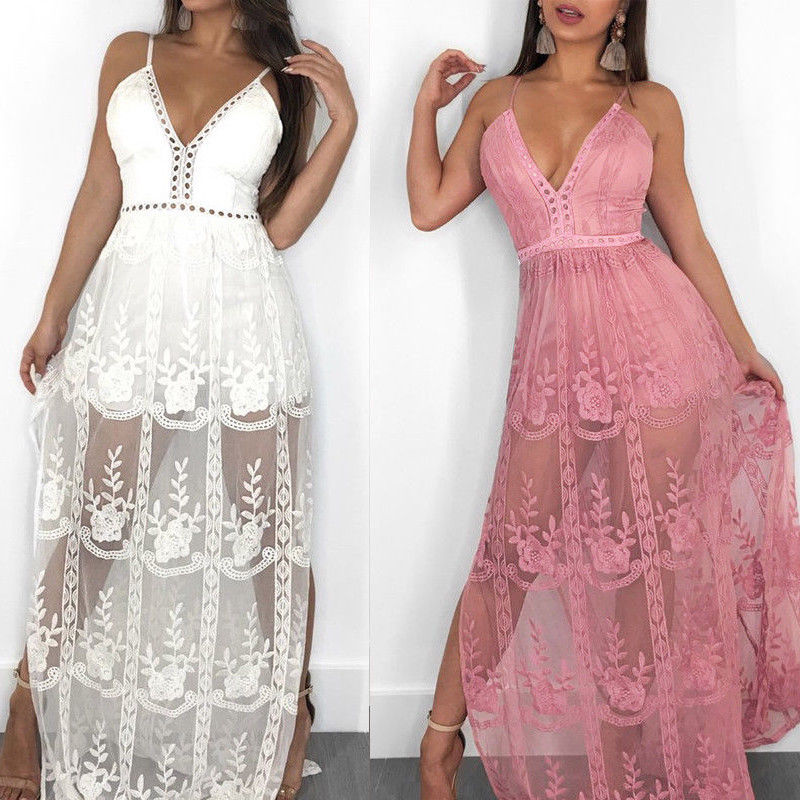 Women's Sexy Lace Floral Dress Long Maxi Dress V-neck Backless Party Dresses Sleeveless Women Clothes HOT