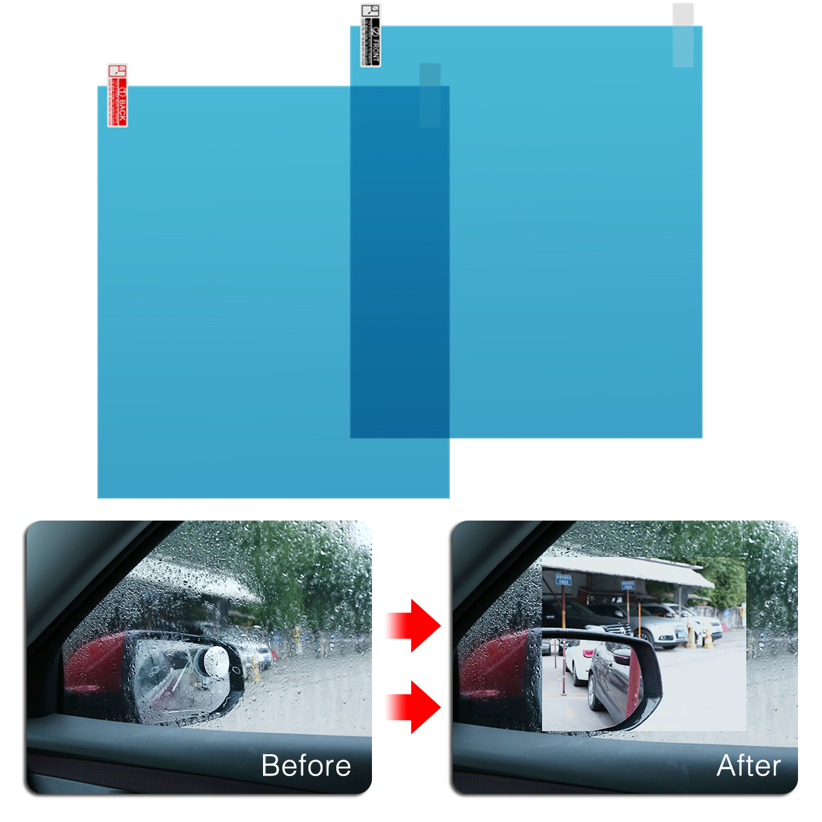 2Pcs/set 170*200mm Anti Water Fog Mist Film Rainproof Car Rearview Mirror Window Film Universal For All Cars