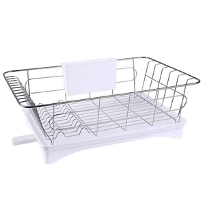 Image 3 - Stainless Steel Dish Drainer Drying Rack With 3 Piece Set Removable Rust Proof Utensil Holde For Kitchen Counter Storage Rack