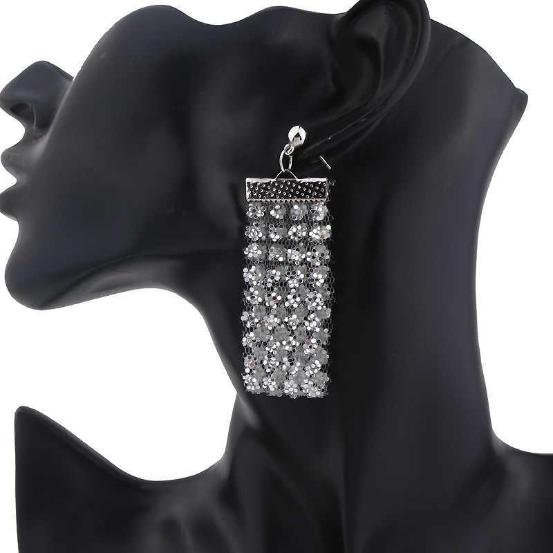 2019 nouvelle personnalité mode lumineux Sequin fleurs gland longue bande pendentif sexy OL Stud boucle d'oreille femmes bijoux A18