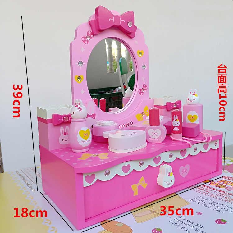 Новый микрофон кролик Туалетный Столик детский игровой дом Моделирование макияж деревянная игрушка шкатулка подарок для девочки