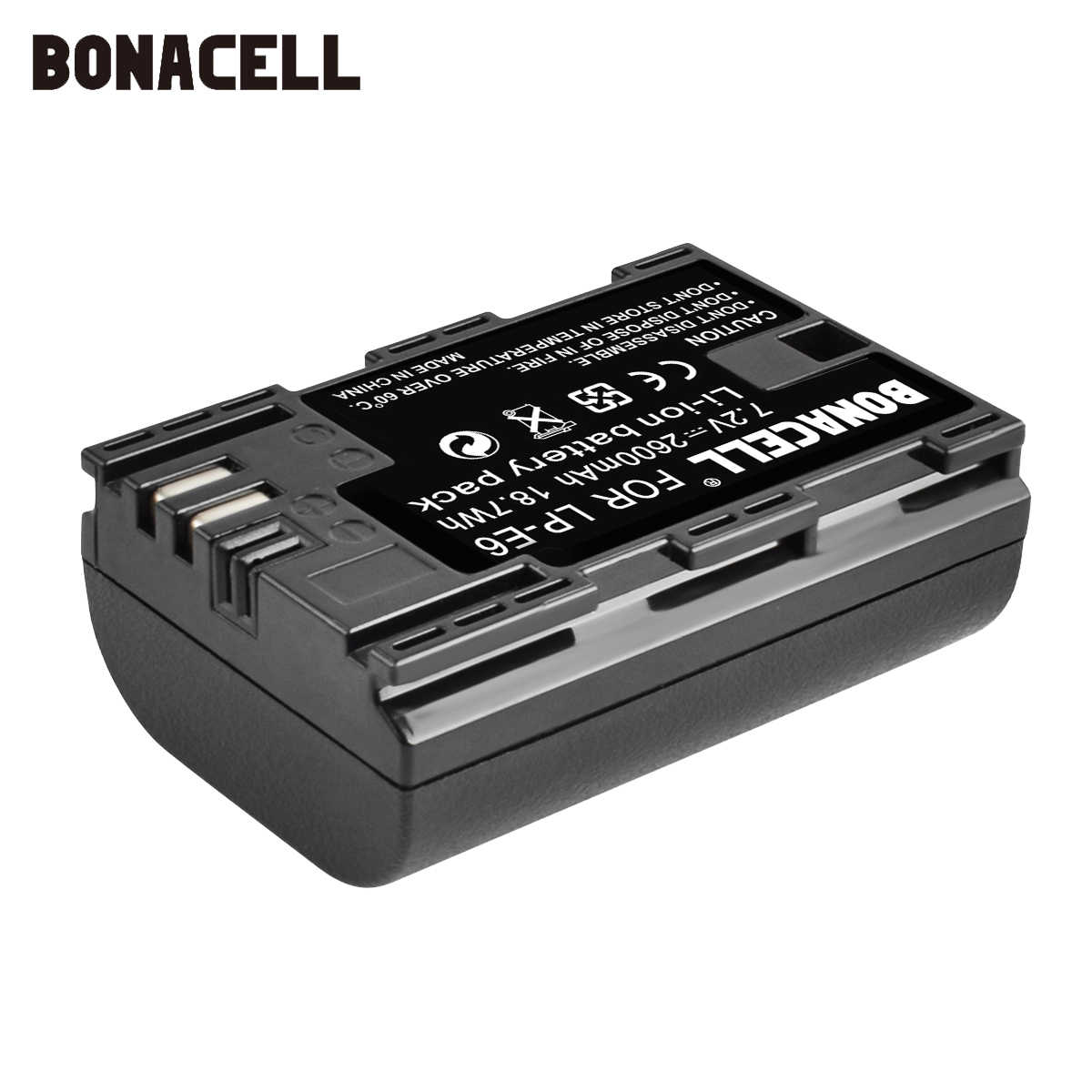 Bonacell 2600mAh LP-E6 batería para cámara digital para Canon EOS 5D Mark II 2 III 3 6D 7D 60D 60Da 70D 80D DSLR EOS 5DS lp e6 L50