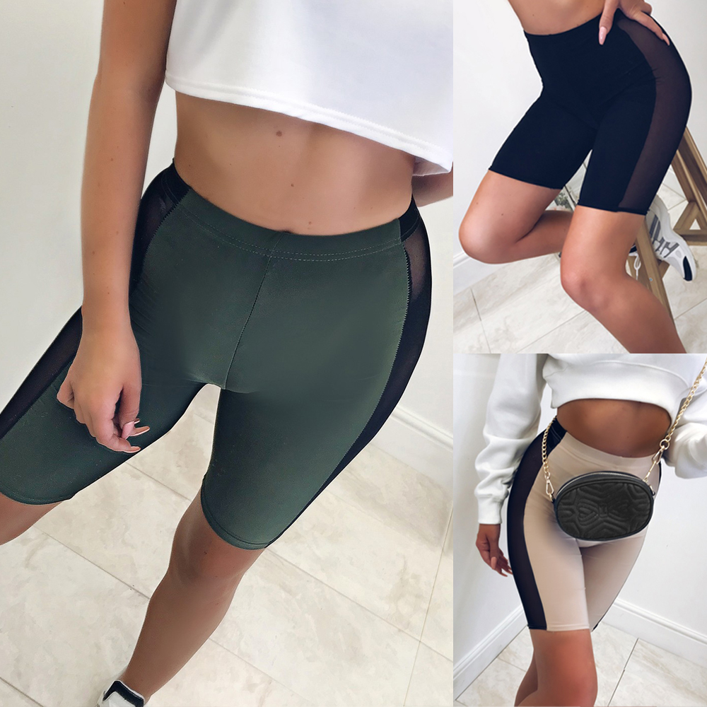Women Cycling   Shorts   Dancing Gym Biker Lycra Girls Active Casual Sports Elastic High Waist   Shorts   Summer