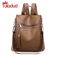 hot deal buy women backpack fashion backpacks for teenage girls fashion travel pack bags high quality pu leather tassel bookbag rucksack