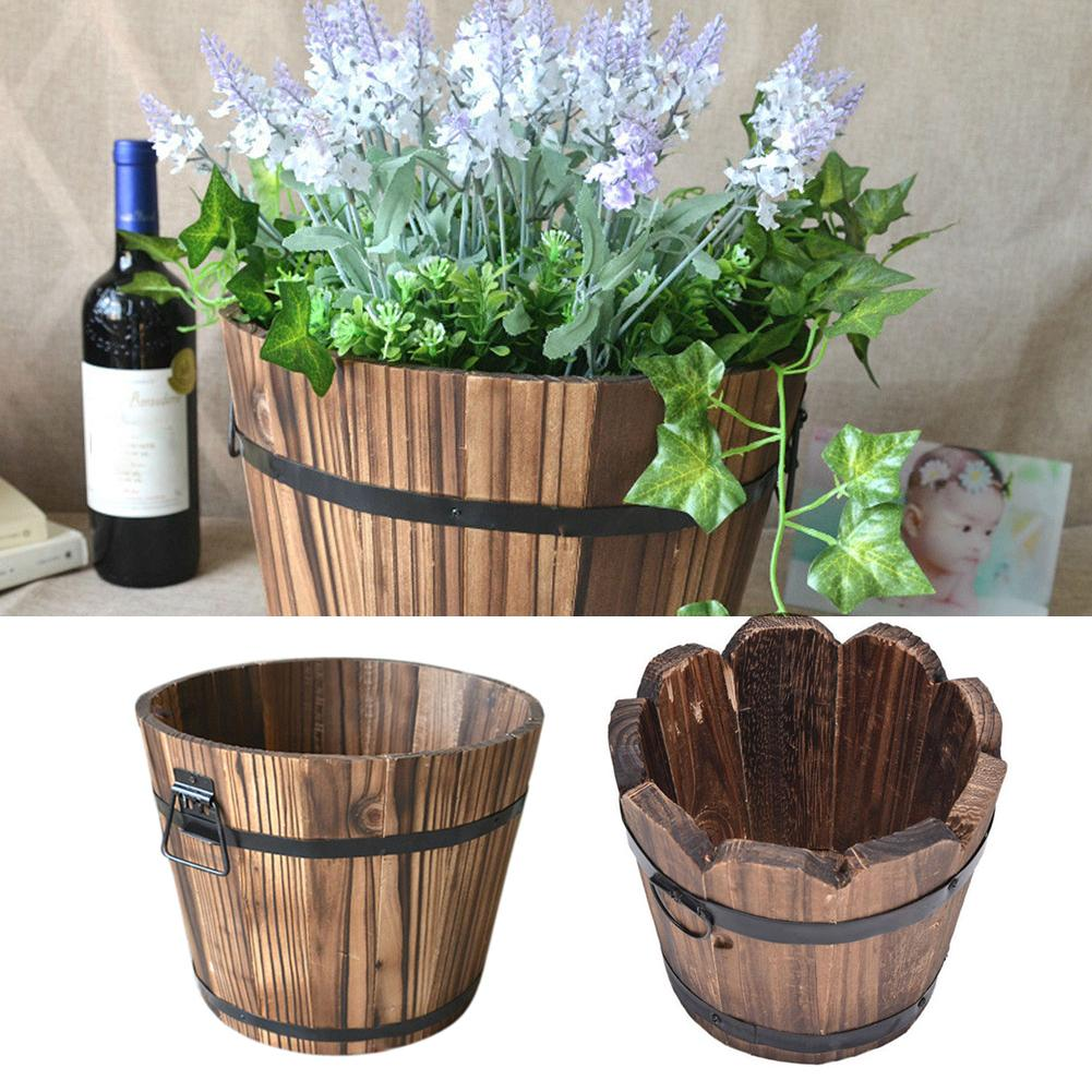 Carbonized Wooden Garden Succulent Plants Flower Pots Outdoor Flower Bucket Home Decoration Round Retro Small Barrels Planter