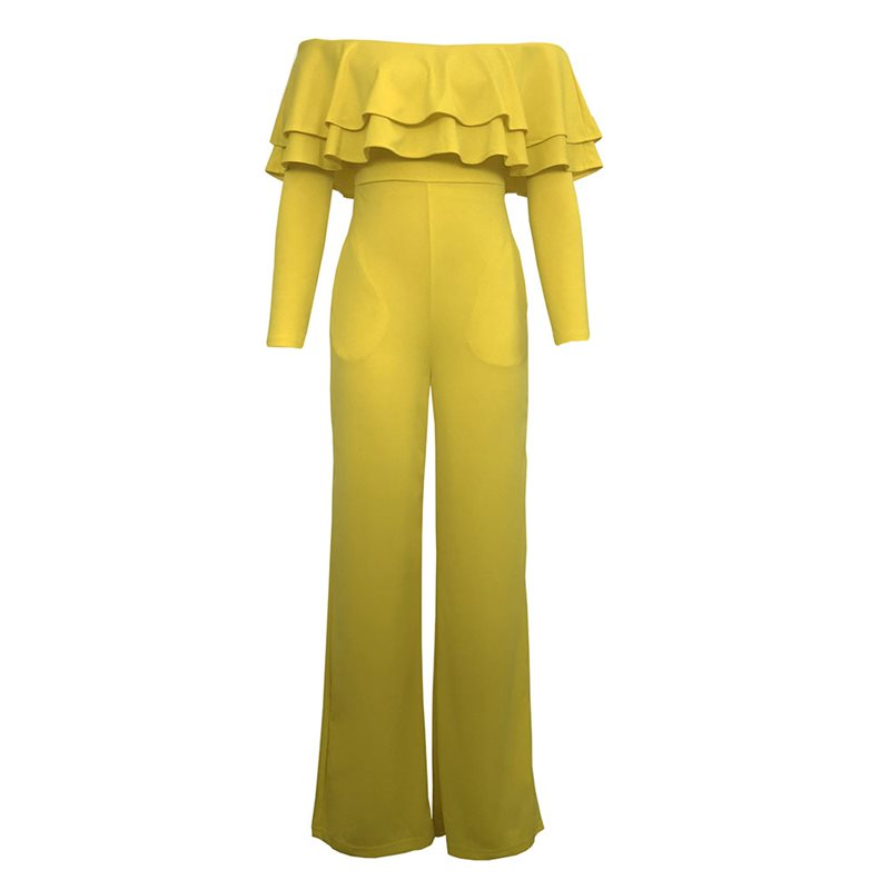 Women Jumpsuits Casual Sexy Club Beach Holiday OL Ladies Summer Slim Thin Wide Legs Ruffles Strapless Female Yellow Rompers Price $45.28