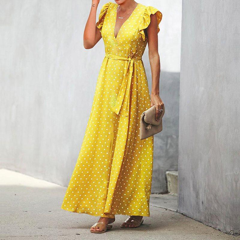 Ретро в горошек длинное платье Для женщин желтый пляжное богемное сексуальное Вечерние халат Винтаж элегантная вечерняя сумочка черная ле...