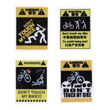 С надписью «Don't TOUCH MY велосипед Водонепроницаемый декоративные Предупреждение Стикеры Водонепроницаемый Наклейка Велоспорт аксессуары 60x45x1 мм