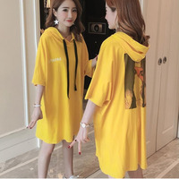 #4923 Long Loose T Shirt Women Summer Korean Yellow Batwing Sleeve Tee Shirt Hooded Harajuku Loose Big Size Tshirt Feminina Tide