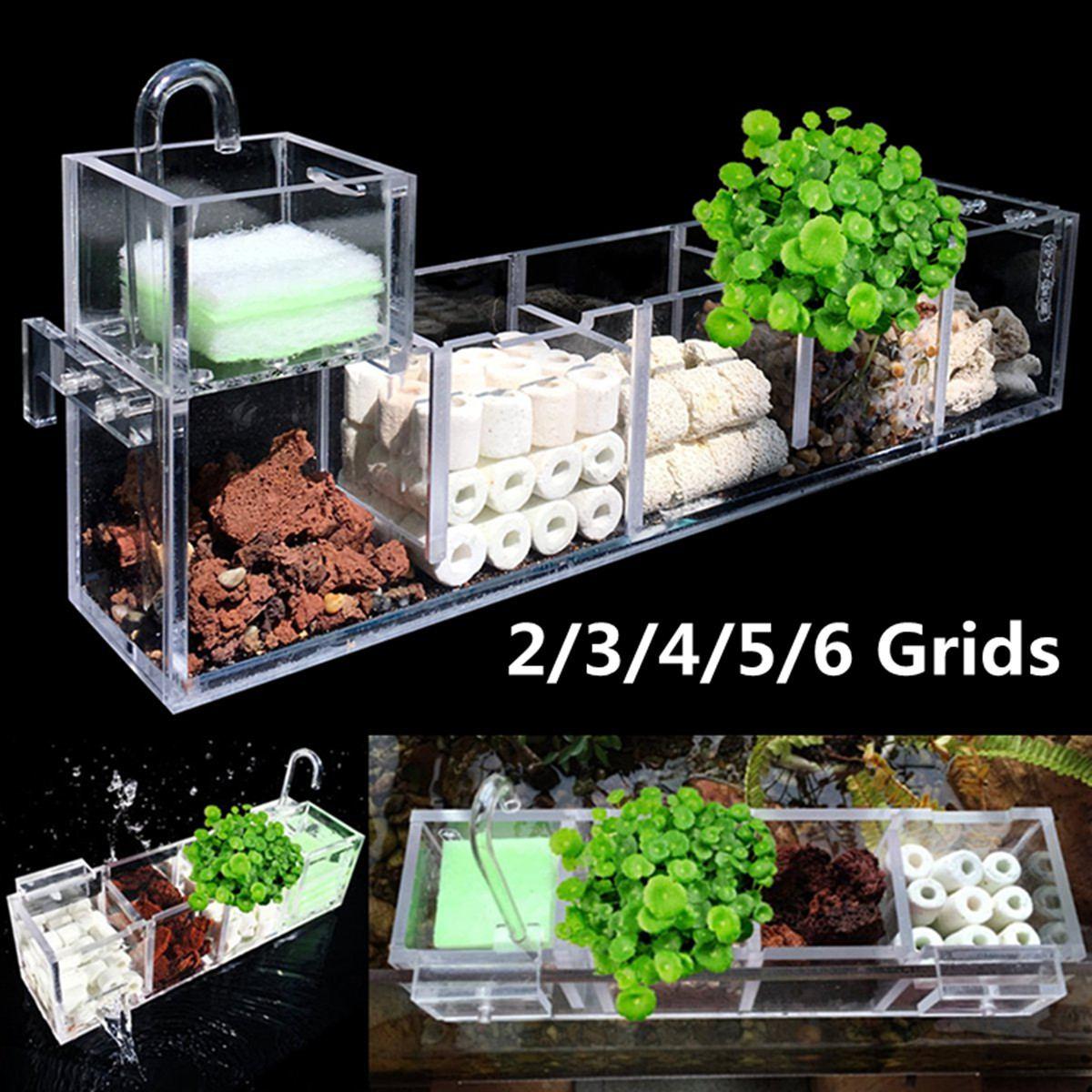 Fish Tank Aquarium Filter Box 2-6 Grids Acrylic External Hanging Water Purifier Aquatic Pet Cage Increase Oxygen Filter Supplies