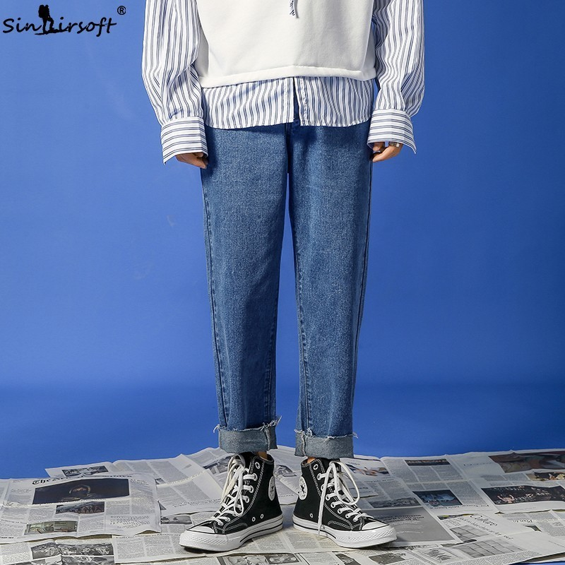Free Shipping Men 39 s Straight Leg Loose Jeans Streetwear Ankle Length Casual Blue Pants Size 27 34 2019 Youth Hot in Jeans from Men 39 s Clothing
