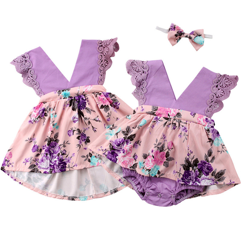 Family Matching Outfits Purple Rompers Dresses Baby Kids Girls Lace Floral Romper Dress Boys T-shirt Headband Outfits Clothes Mother & Kids