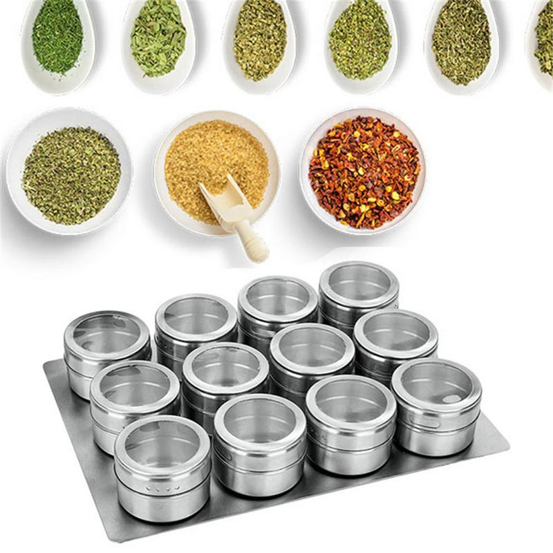 US $18 27 19% OFF|New Magnetic Spice Jars Tins Stainless Steel Spice Jars  Set With Clear Lid Labels Seasoning Pepper Spice Storage Container Box on