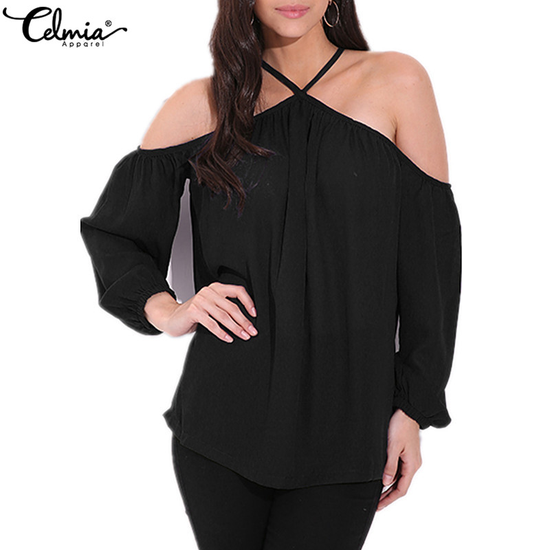 2018 Celmia Women Chiffon Blouse Sexy Off Shoulder Halter Neck Summer Shirt Long Sleeve Casual Loose Solid Party Blusa Plus Size