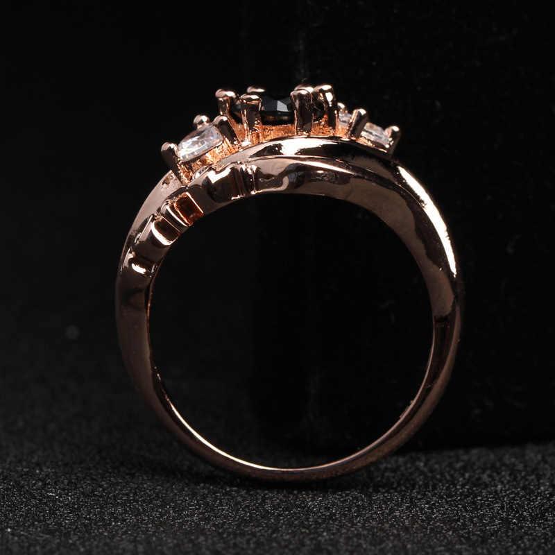 1 ชิ้น Size6 7 8 9 10 Zircon ของขวัญวาเลนไทน์เจ้าสาว Rhinestone สีดำแหวนงานแต่งงานแหวนหมั้นฝัง Hollow ดอกไม้ rose Gold