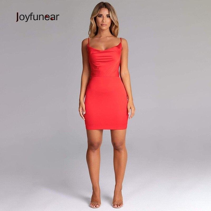 Joyfunear 2019 Backless Sleeveless Red Summer Dresses Women Bandage Strap Mini Sexy Dress Clubwear Party Dress Vestidos De Fiest
