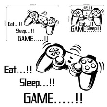 Funny Gamer Vinyl Wall Stickers Game room Bedroom Decor For Kids Childrens Room Art Mural Eat Sleep stickers A20