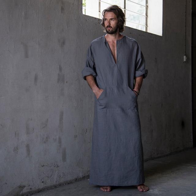 Mens Cotton Linen Ultra Long Floor Length Robes Bathrobes Lounge Wear Home Gowns Sleepwear Nightgowns Shirt Pajamas Caftan