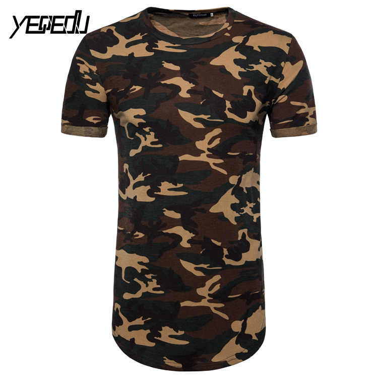 #0822 Лето 2019 камуфляжная удлиненная футболка хип-хоп панк Стиль Уличная мода короткий рукав приталенная европейский размер M-XXL