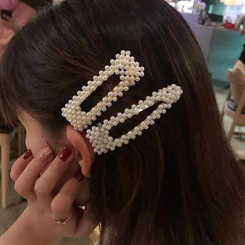 Korean Simulated Pearl Barrettes Beaded Geometric Women Hair Clip Hairgrips Hair Accessories Girls Jewelry Fashion Hair Pins