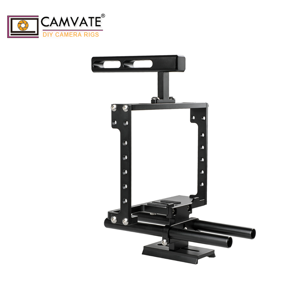 CAMVATE Universal Camera Cage Rig With Double Rod Setup C1896