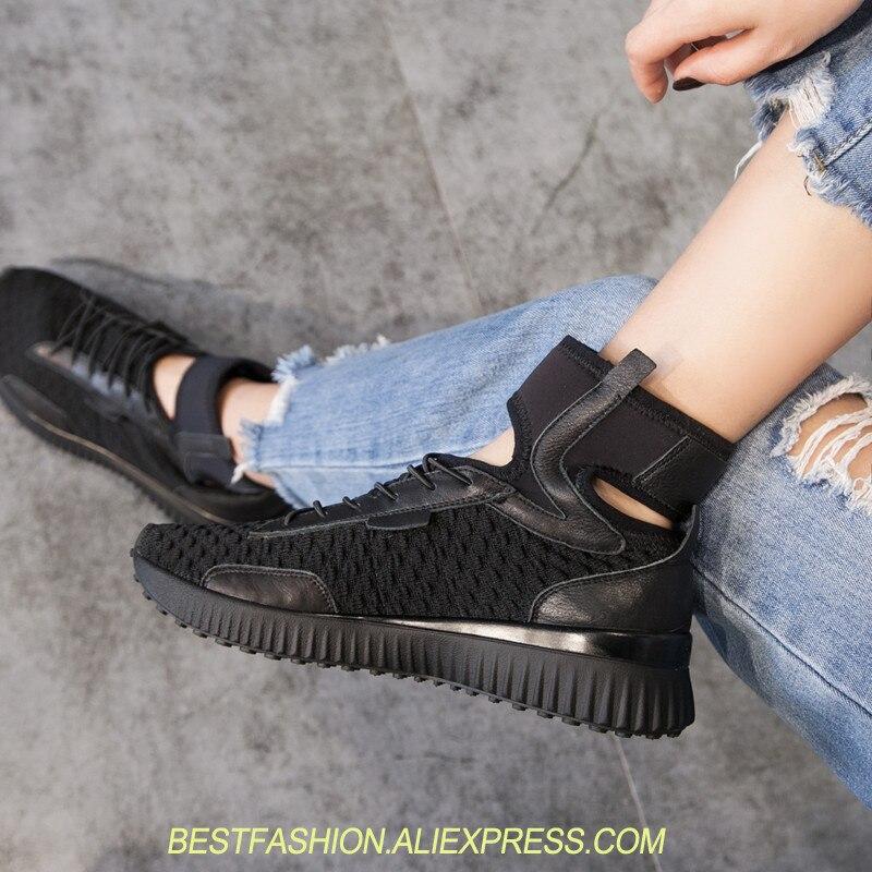 \ Chaussures baskets respirantes pour femmes blanc noir cheville Wrap chaussures de loisir à la mode femme à lacets baskets découpées femmes chaussure