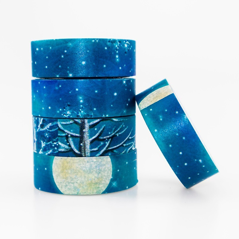 Colored Winter Night View Washiing Paper Tape DIY Japanese Office Stationery Paste Scrapbook Decoration Tape 1PCS / Lot