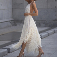White Prom Party Dress Summer 2019 Fashion Women Tassel Halter Red Sexy Fringe Dress Ladies Backless Long Dresses For Women