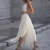 White Prom Party Dress Summer 2019 Fashion Women Tassel Halter Red Sexy Fringe Dress Ladies Backless Long Dresses For Women