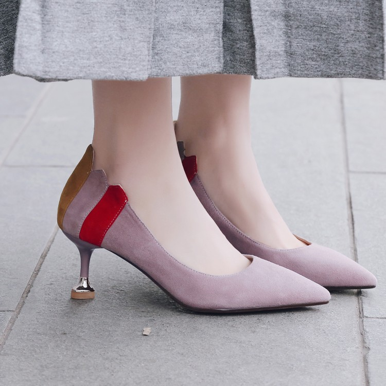 2019 Fashion Woman Shoes Pointed Toe Thin Heels Shallow Stitching Color For Ladies Party shoe Casual Shoe Size 34-412019 Fashion Woman Shoes Pointed Toe Thin Heels Shallow Stitching Color For Ladies Party shoe Casual Shoe Size 34-41